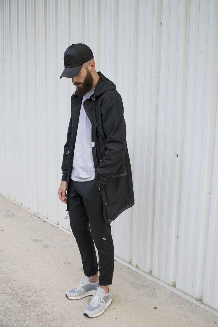 "alkarus: "" Acne studios cap Sandro jacket Ami Paris trousers Common projects track shoes """