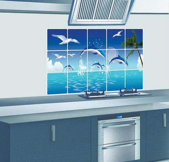 Керамическая плитка наклейки домашнего декора стены кухни наклейки дельфин наклейки Бесплатная доставка