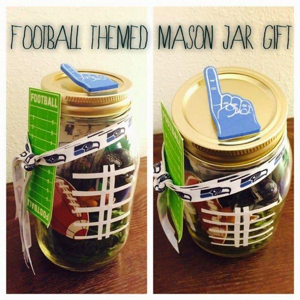 DIY Mason Jar Gift Idea: football-themed jars, tickets, candy, or a game day momento