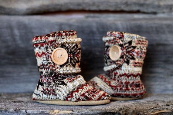 Nordic Leather Soled Fleece Baby Booties. by handmadetherapykids, $30.00