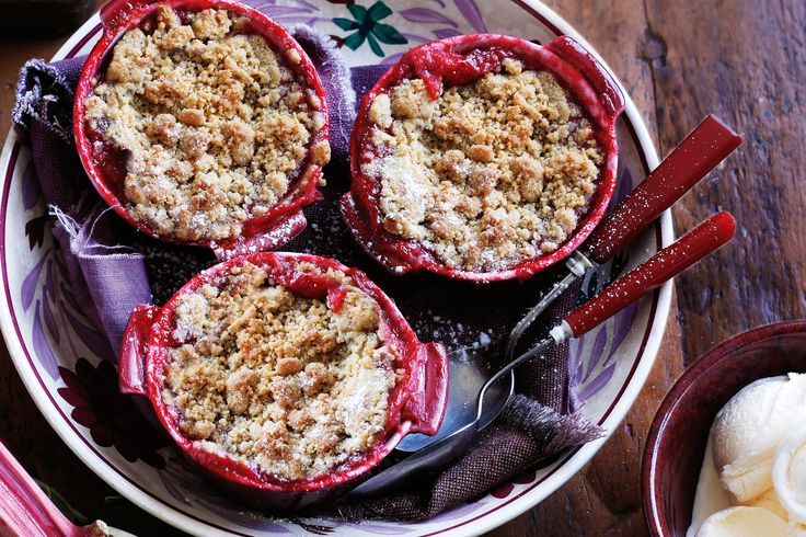 British. Ruhbarb & Straberry Crumble. When baked, rhubarb is soft and sweet with just a hint of tartness, which is why it's often first choice for filling this classic winter dessert.