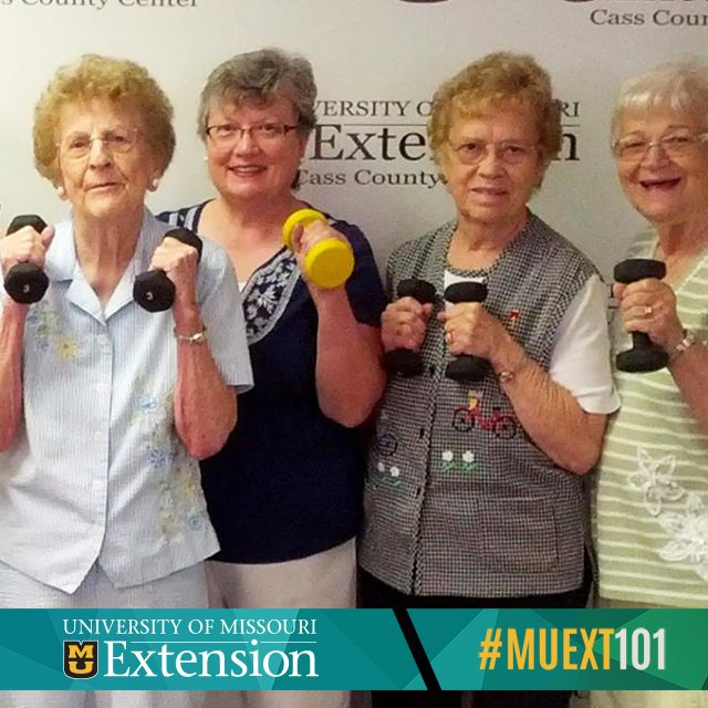 These women joined a Stay Strong, Stay Healthy program at their local extension office. This program builds muscle, increases bone density and helps prevent frailty and osteoporosis. Contact your local extension office to find out about upcoming classes. #MUEXT101