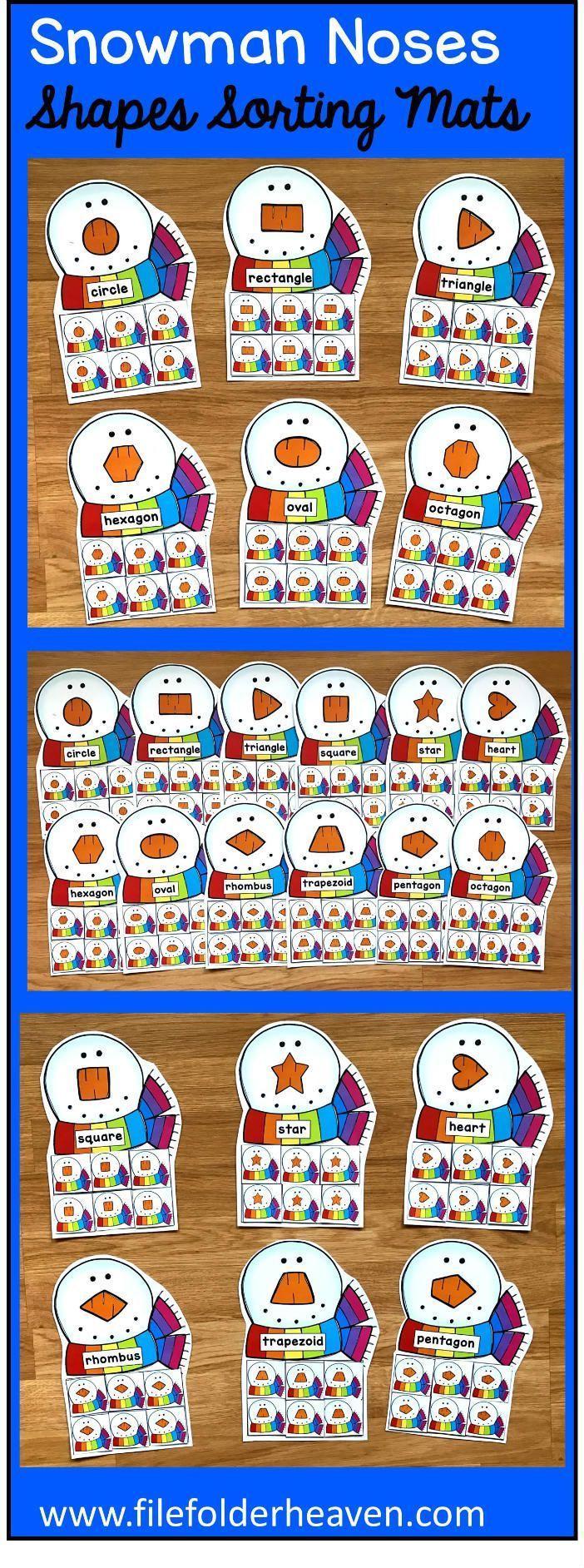 These Snowman Nose Shapes Sorting Mats include 12 unique sorting mats that focus on sorting snowmen by shapes.  In a center or independent work station, students snowmen shapes into the snowman mat that has a nose with the same shape. Shape mats included are:  circle square triangle rectangle oval heart star rhombus trapezoid pentagon hexagon octagon