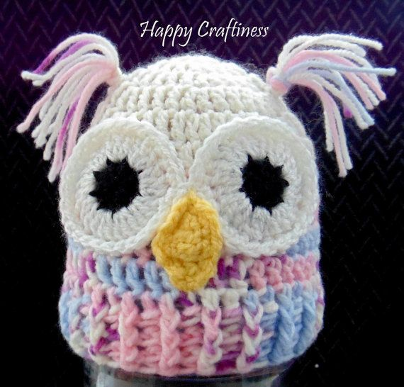 OLLIE OWL BEANIE baby Hat Photo Prop Cute Pink by HappyCraftiness