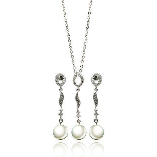 Nickel Free Brass Pendant & Earring Sets Cubic Zirconia With Hanging Pearl Rhodium Plated Brass Set Pendant Length: 1.5 Inches Earring Length: 1.3 Inches Double Accent. $33.99
