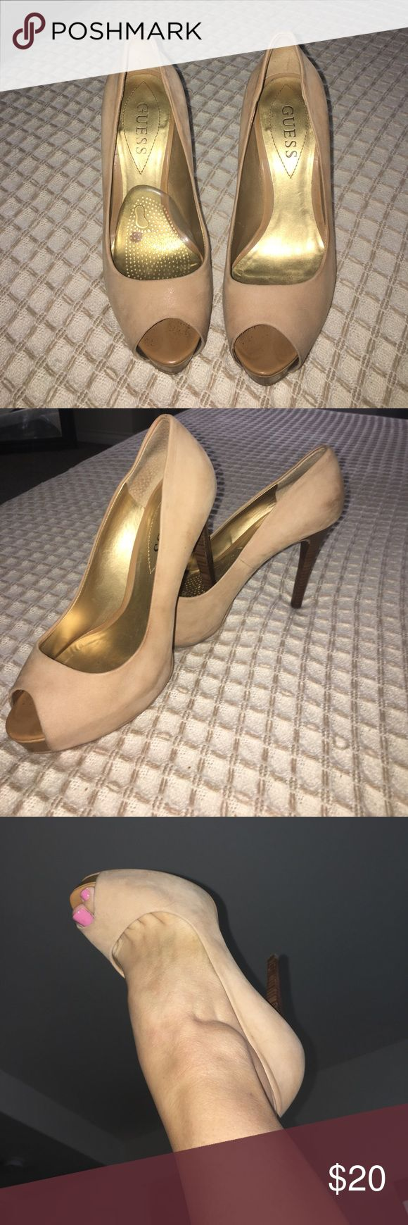 Nude Guess platform peep toe heel Leather nude peep toe platform. Just needs some leather cleaner and will look new again. Super comfortable!! Moving and everything must go!!! Guess Shoes Platforms