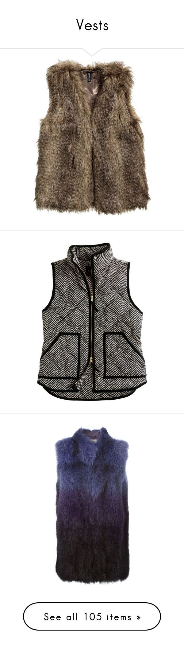 """Vests"" by pinkandgoldsparkles ❤ liked on Polyvore featuring outerwear, vests, jackets, tops, coats, brown, brown faux fur vest, fake fur vest, h&m и vest waistcoat"