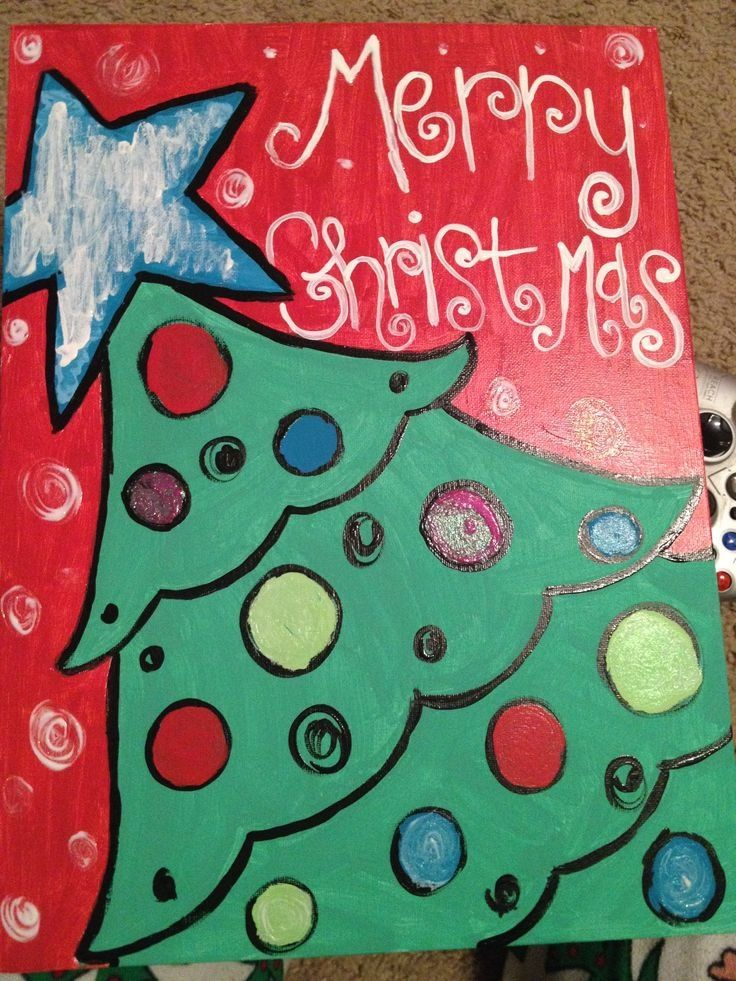 Cute Christmas Tree Canvas Paint Idea For The Holiday Star