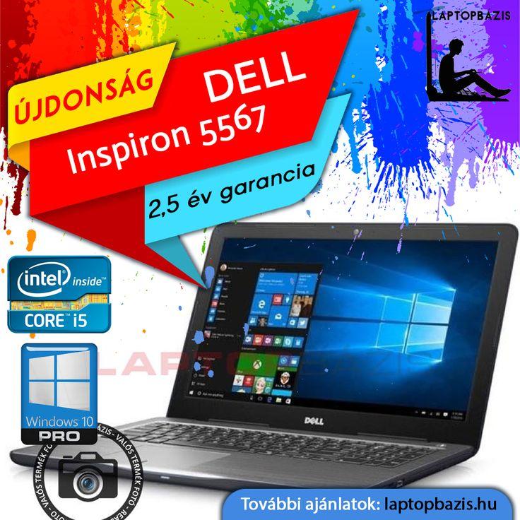 "Új Dell Inspiron 5567 gamer laptop, Intel Core i5-7200U, dual vga, 1 TB HDD, 8 GB RAM, DVD-RW, Windows 10 Pro, 15,6"" HD kilejző, 2,5 év garancia  Ár: 229 900.- Ft"