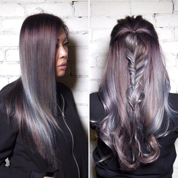metallic purple and gray on black long hair