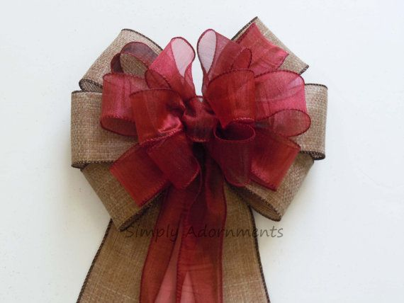 Rustic Brown Burgundy Bow Country Fall Wedding Pew Bow by SimplyAdornmentsss