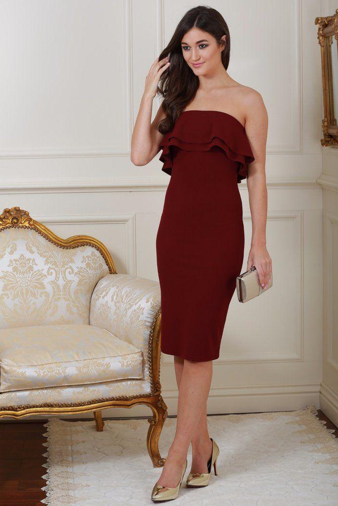 Monika Wine Ruffle Bandeau Dress
