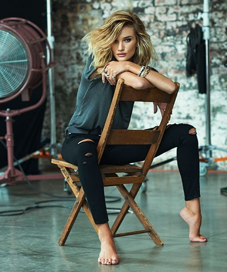 Paige Denim Rosie Huntington Whiteley Lookbook | Paige Denim and Rosie Huntington-Whiteley have teamed up once more for a collection of fall denim that makes model-off-duty style super easy to replicate. #refinery29 http://www.refinery29.com/paige-fall-2015-rosie-huntington-whiteley-lookbook