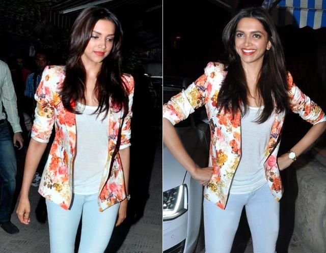 Deepika kept it casual in a tee, cropped skinnys and a Zara floral-print blazer