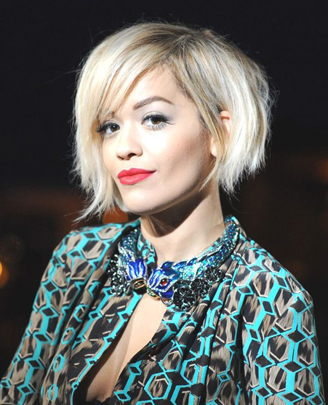16 Asymmetrical Celeb Cuts . Rita Ora: Rita's disheveled hair is only slightly asymmetrical, longer on one side of her jaw than the other. But that doesn't make it any less bold. This style maven's razor-y bob has us all feeling some major hair evny. (via Trend Survivor)