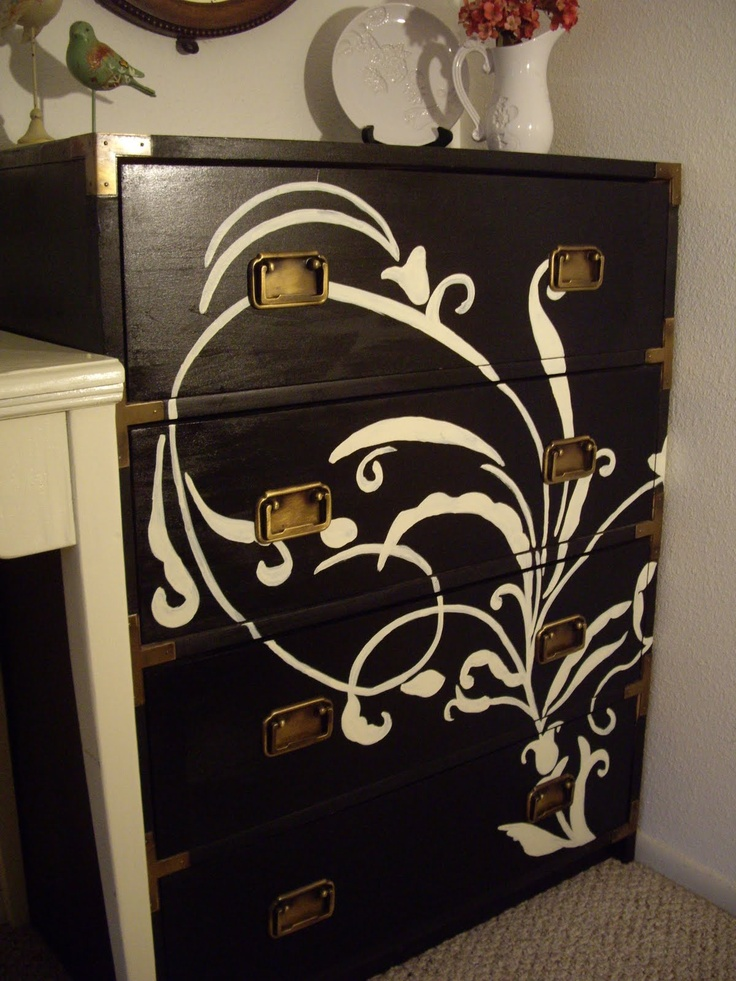 Dresser  I Like The Idea If I Did A Purple Design On My White Dresser