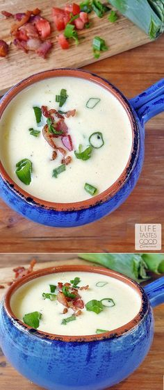Potato Leek and Bacon Soup   by Life Tastes Good is like curling up under a warm blanket with someone you love. It is so comforting y'all! http://ourlifetastesgood.blogspot.com/2014/10/potato-leek-and-bacon-soup.html