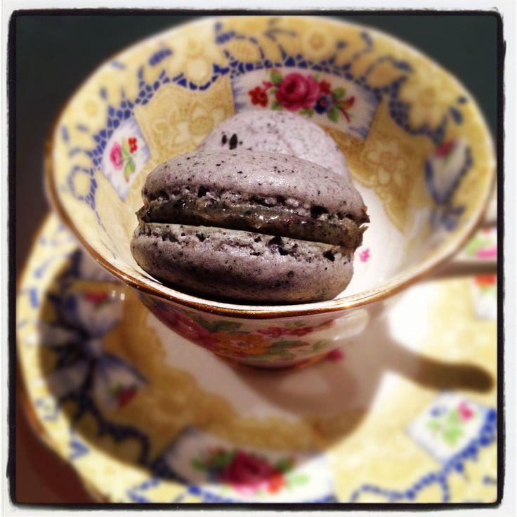 Black sesame with white chocolate sesame ganache