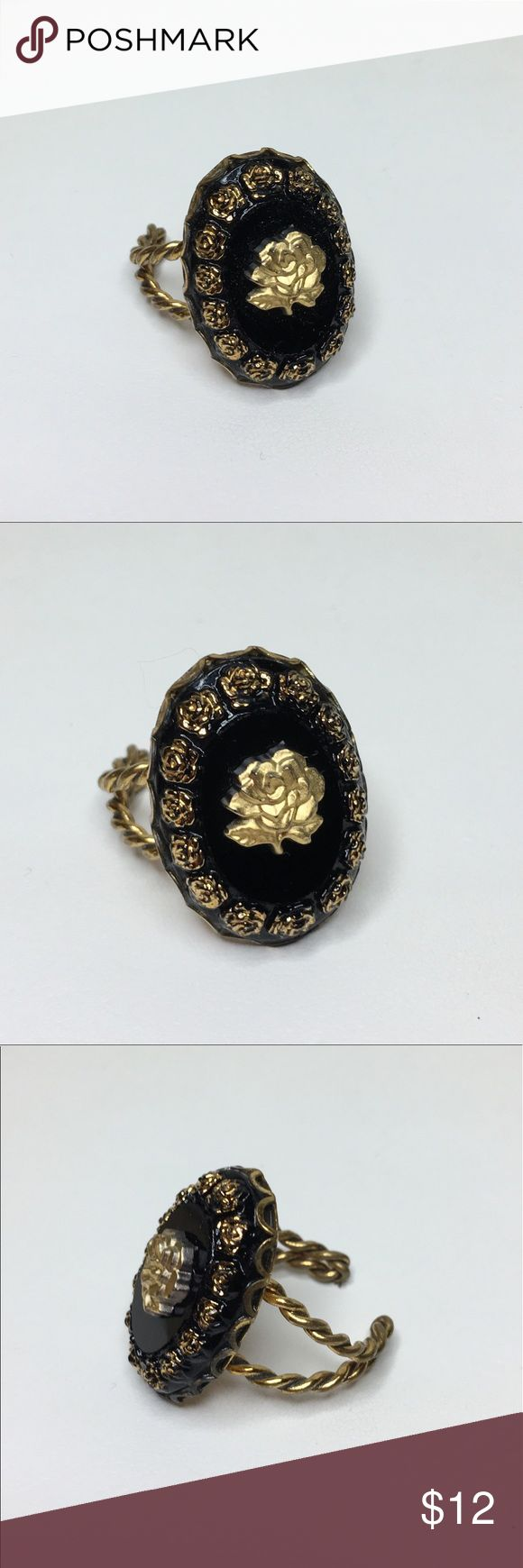 "🆕Vintage Black and Gold Rose Ring An adjustable ring with a 1"" face, made from black glass sand graced with a gold rose. Set in a brass open ring setting. This appears to have been a handmade item; some smudging on the gold border of the ring and solder marks seen on the back of the ring. In very good vintage condition; a beautiful example of rustic European craftsmanship. Vintage Jewelry Rings"