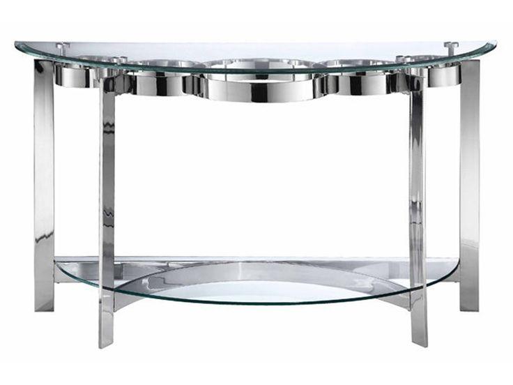 Mesa de sofá con la interconexión de patrón de timbre bajo una tapa de cristal templado biselado con discos de acero inoxidable fundido y el marco con una base de modelado y estante de vidrio.