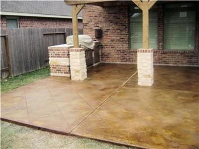 Stained concrete for the patio in the back
