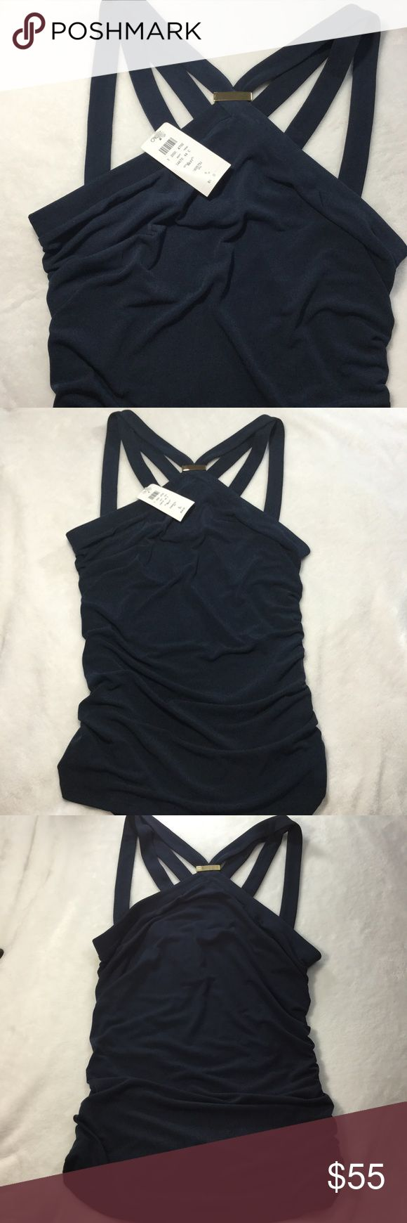 {Cache} Navy blue Strappy Top with gold accent. {Cache} Navy blue Strappy Top with gold accent. NWT! Size Medium Cache Tops Blouses