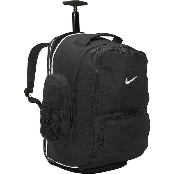 Nike Accessories Swoosh Rolling Laptop Backpack (£54) ❤ liked on Polyvore featuring bags, backpacks, black, wheeled backpacks, mesh bag, strap bag, nike backpack, laptop bag and padded laptop backpack