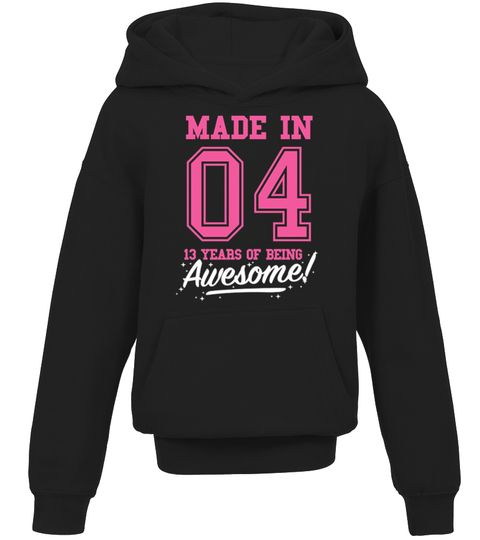 CHECK OUT OTHER AWESOME DESIGNS HERE! Made in 04, 13 years of being awesome! This girl was Made in 2004 tee. This girl has 13 years old. 13th anniversary gifts, 13th anniversary shirts, 13th birthday girl, 13th birthday shirts for girls, teen shirts for girls, teens clothing. Perfect shirt for young girls at age of 13. Cool and funny vintage college sports old school style t-shirt design for kids, ideal as a present for thirteen year olds. Birthday gifts for girls, for mother and fa...