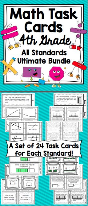 4th Grade Math Task Cards - This packet has a set of self checking task cards for each of the 4th Common Core Standards in math. The cards are perfect for small groups, centers, remediation, whole class activities, Scoot games, and much more! This will save you hours and hours of work! WOW! $