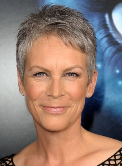 Jamie Lee's silver pixie She looks great in short hair and her silver looks good on her.