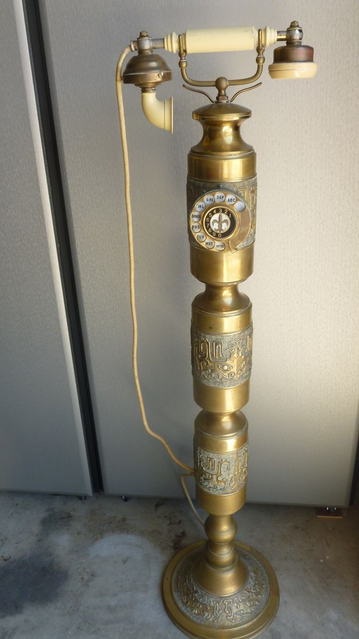 1930 S Brass Rotary Dial Telephone Standing 42 In Tall Cloth Cord Working Telephone Cords