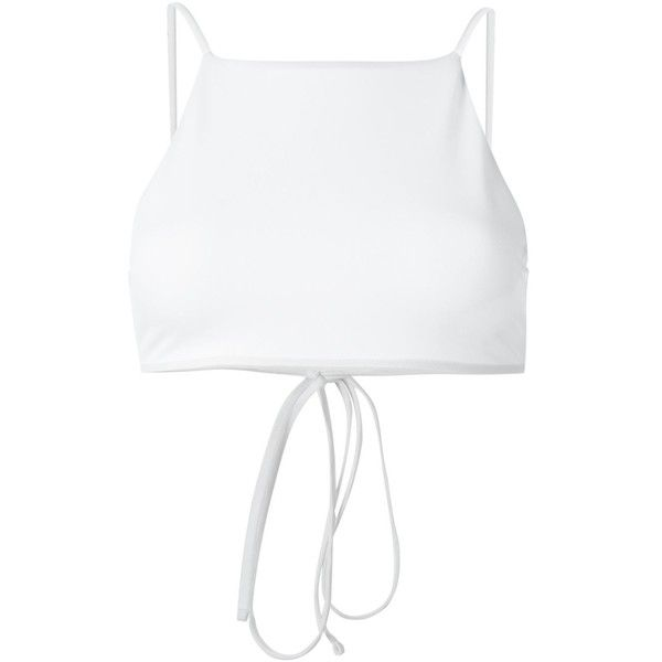 Ack Bralette Bikini Top (1.474.900 IDR) ❤ liked on Polyvore featuring swimwear, bikinis, bikini tops, white, white swimwear, swim suit tops, bralette swimsuit top, white tankini top and white bikini