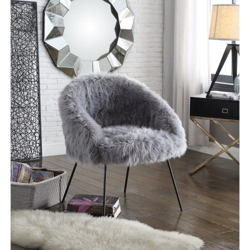 Inspired Home Giovana Faux Fur Black Powder Coated Metal