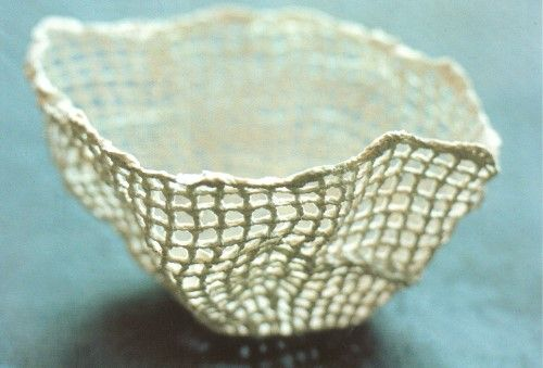 Knitted Porcelain Bowl by Suzanne Feldt