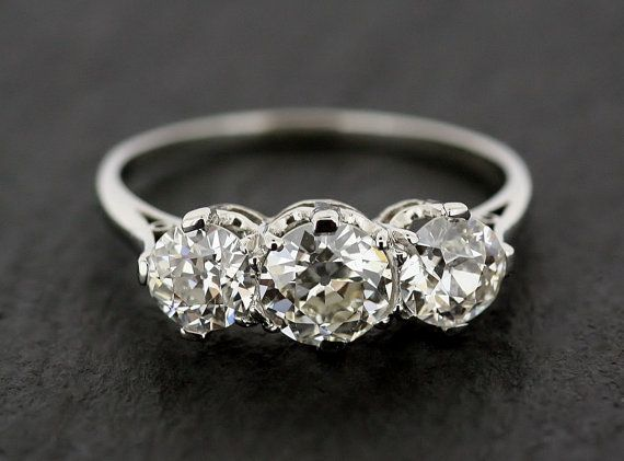 Antique Diamond Engagement Ring  Three Stone by AlistirWoodTait, £9995.00
