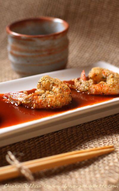 Gamberi impanati di nocciole con salsa al vincotto