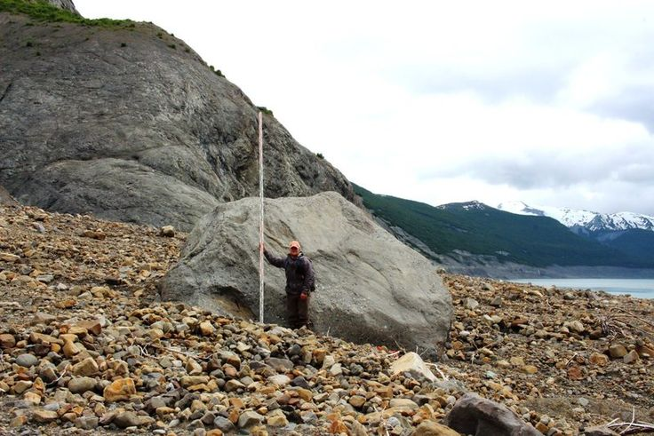 A giant boulder moved by the tsunami as it ran down Taan Fjord.