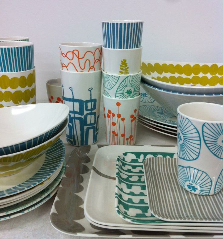 Lotta Jansdotter Plastic dishware for kids and adults so much better than hello kitty.