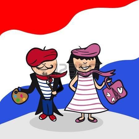 Hombre francés y pareja de dibujos animados mujer con el fondo de la bandera nacional. Ilustración vectorial en capas para facilitar la edición.