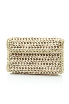 Cream crosia clutch with metal sling from #Benzer #Benzerworld #Clutch #Bag #Accessories