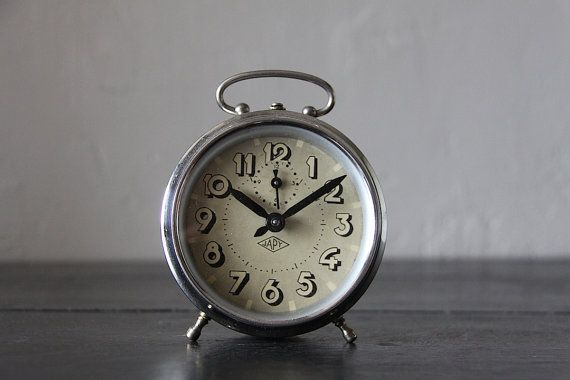 French Vintage Alarm Clock Japy Chrome by RueVertdegris on Etsy $69.76