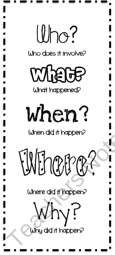 Comprehension Bookmark from Mrs _Ds_Corner on TeachersNotebook.com (1 page)  - Featuring the 5 Ws ... who, what, when, where, why.