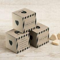 Eco kubusdoosje zwarte strepen #huwelijk #wedding #doosje #eco #box #hart #heart #strepen #stripes #bedankje