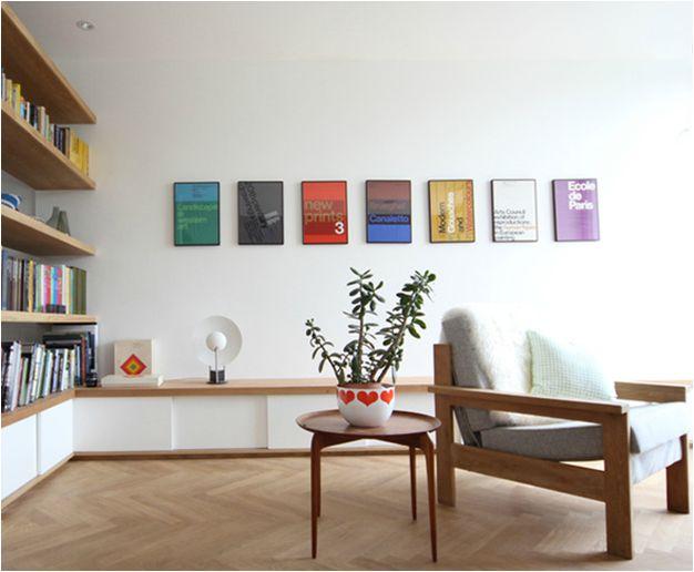 Kathryn Tyler's Grand Design – Interior Designer who built a Scandinavian inspired home – bookshelf separating lounge room from dining room