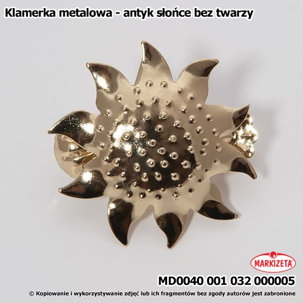 #klamra_do_firan Ładna, metalowa klamerka służąca do upinania firan. Ta oferowana tutaj ma kształt słońca bez twarzy. Taka klamerka będzie na pewno ozdobą naszej firanki.  Jej zalety to: wysoka jakość atrakcyjna cena kasandra.com.pl