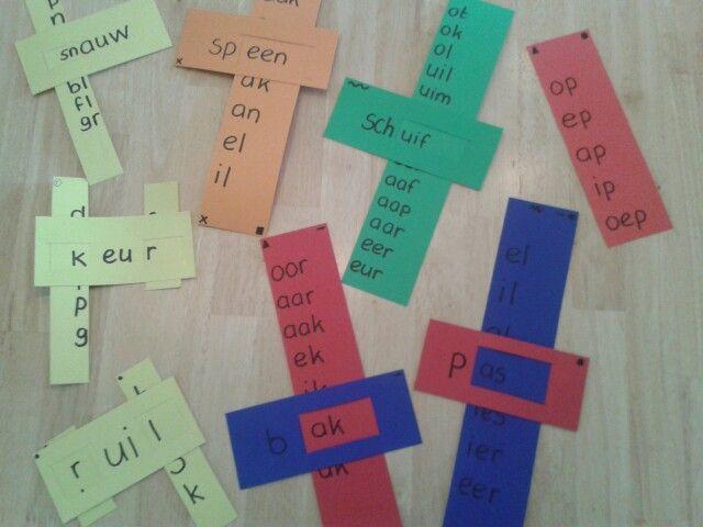 Wisselrijtjes oefenen. Bij elke kleur klank/ letter hoort een strook. Stroken zijn voorzien van symbolen. Stroken zijn nl. ook uitwisselbaar.
