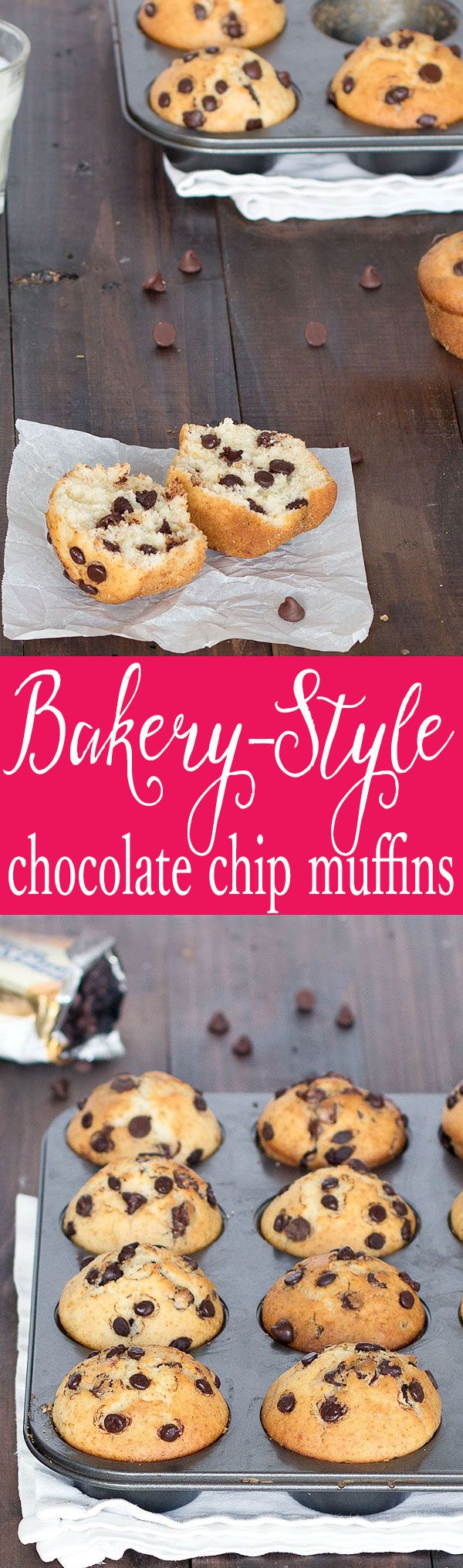 Enjoy these fabulous bakery-style chocolate chip muffins with your morning coffee and/or as an afternoon snack. They're soft, fluffy, and packed with chocolate chips!