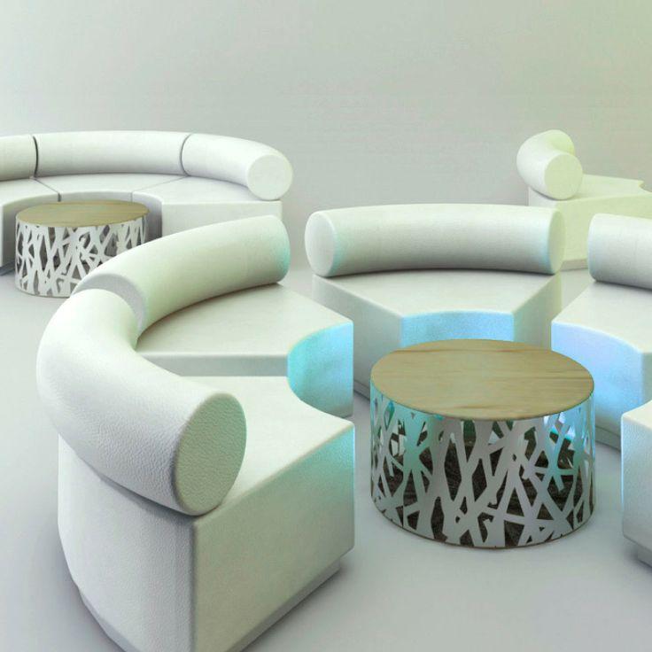Apyou Sofá Eclipse Conjunto Eclipse de Apyou. Original sofá semicircular modular. Mesita de centro circular a juego. Personaliza el color de los asientos y...