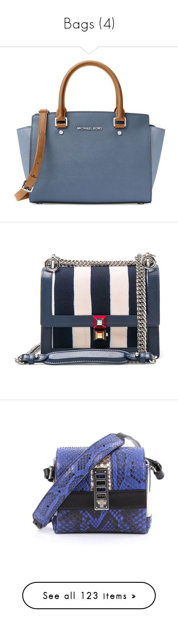 """Bags (4)"" by asia-12 ❤ liked on Polyvore featuring bags, handbags, purses, denim blue, blue handbags, satchel purses, blue satchel, purse satchel, michael michael kors handbags and shoulder bags"