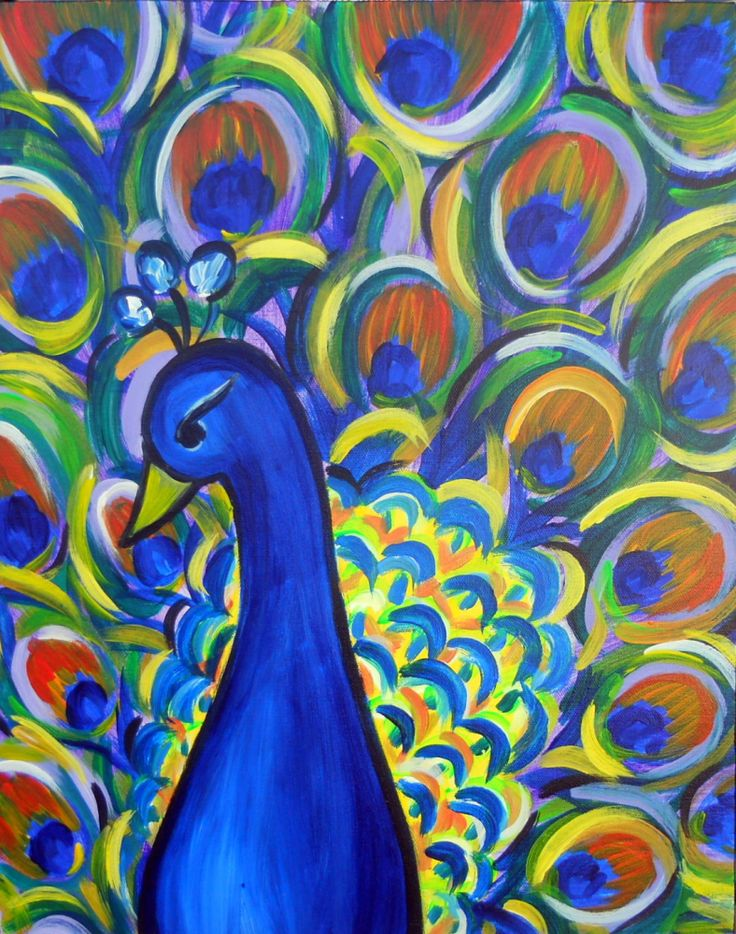 Easy Peacock Canvas Painting